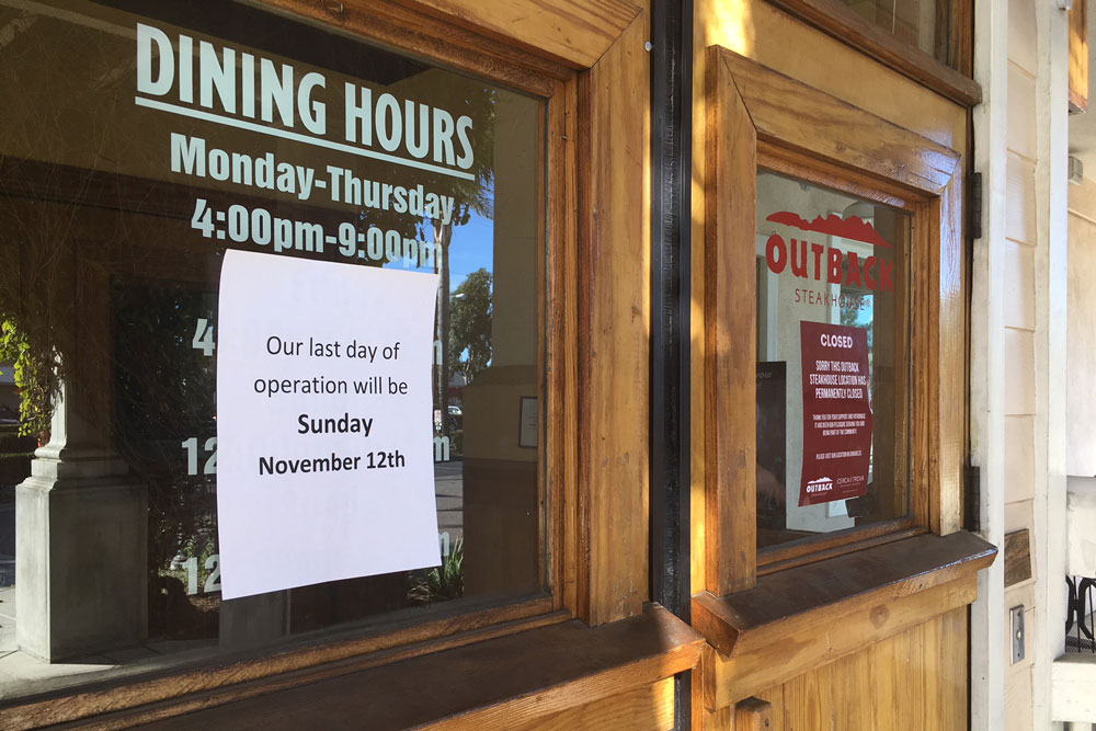 The Outback Steakhouse in the Calle Real Shopping Center in Goleta will close its doors this Sunday, Nov. 12
