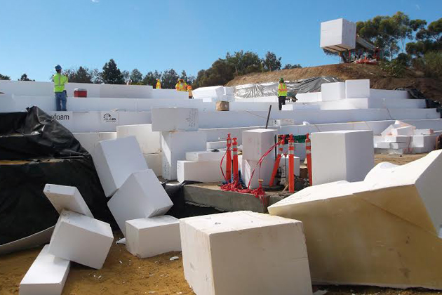 Caltrans Using Blocks of Polystyrene for Freeway Offramp Support in