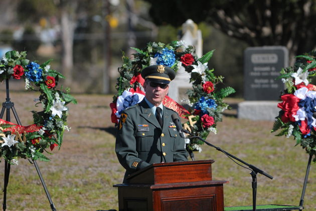 U.S. Army Captain Joe Danely speaks at a Veterans Day ceremony at the Santa Barbara Cemetery.