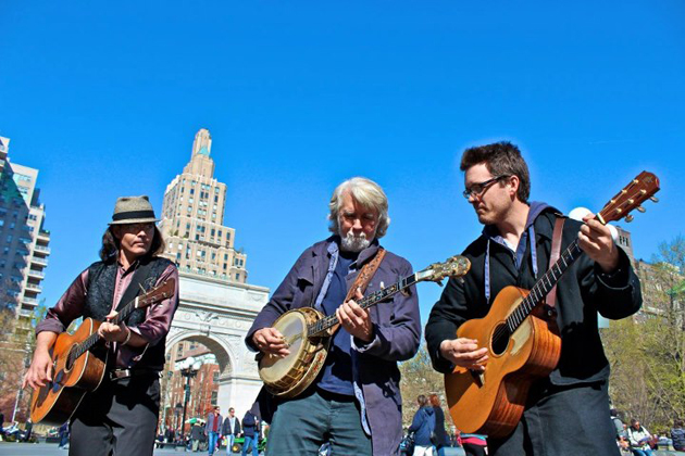 Jonathan, left, John and Nathan McEuen as world-class street performers in Washington Square in New York City. (John McEuen courtesy photo)