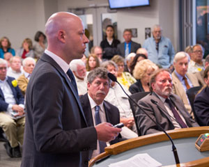 Environmental Defense Center attorney Nathan Alley addresses the Santa Barbara County Board of Supervisors during Tuesday's appeal hearing regarding Santa Maria Energy's request for expansion of an oil field. (Frank Cowan /Noozhawkphoto)