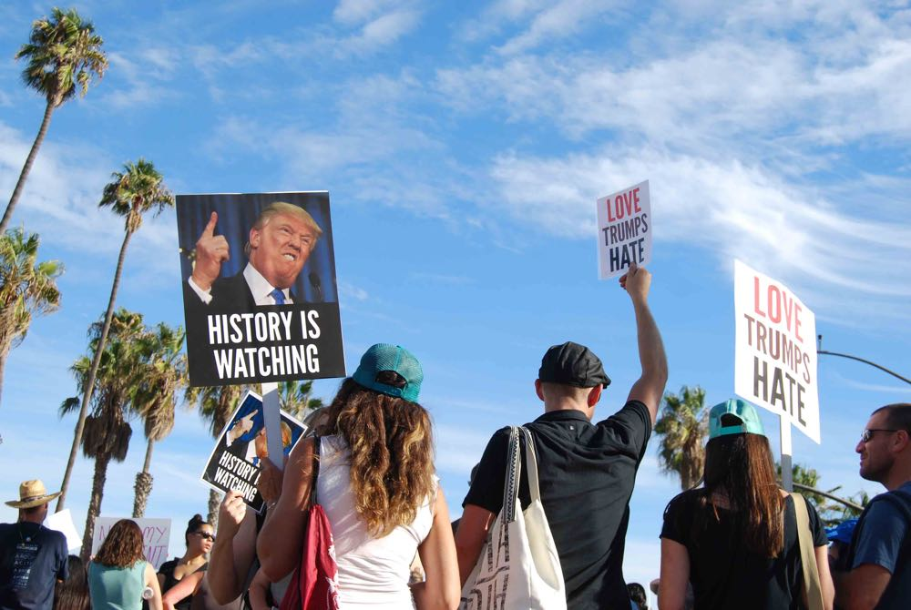 A peaceful protest made its way down State Street in Santa Barbara Nov. 12 to oppose President-elect Donald Trump and his policies.