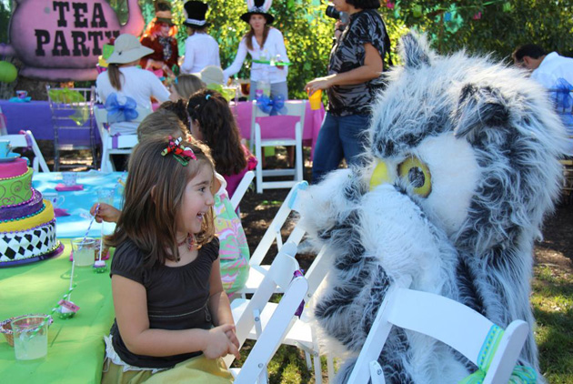Laguna Blanca's Swoop the Owl mascot delights guests at the Tea Party. (Laguna Blanca School photo)