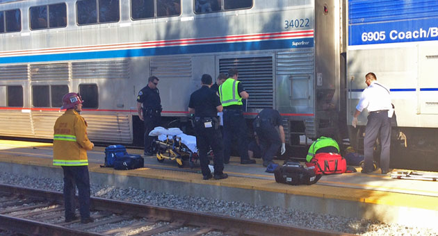 <p>Emergency crews responded Wednesday to a bicyclist who collided with an Amtrak train in Santa Barbara. The cyclist suffered moderate injuries.</p>