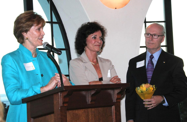 Visiting Nurse & Hospice Care board member Jane Habermann, left, and VNHC Foundation Executive Director Rick Keith honor Marie Ann Straight during the Chairman's Council Reception for her years of dedicated volunteering for Visiting Nurse & Hospice Care. (Visiting Nurse & Hospice Care photo)