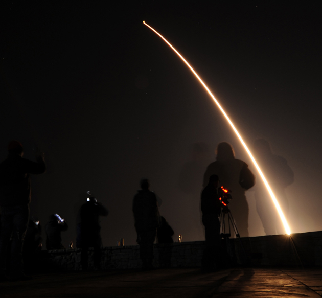 An Air Force Global Strike Command Minuteman III intercontinental ballistic missile equipped with a simulated re-entry vehicle lifts off at 3:07 a.m. Wednesday from Vandenberg Air Force Base. (Levi Riendeau photo / U.S. Air Force)