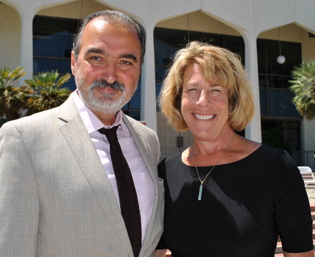 <p>Dr. Manoutchehr Eskandari-Qajar, professor of political science at Santa Barbara City College, with President Lori Gaskin.</p>