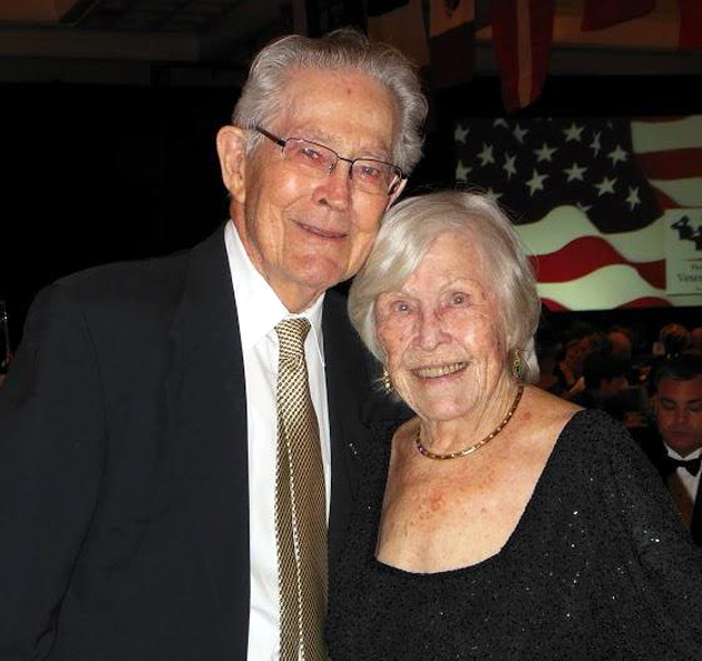 World War II veteran and retired Air Force Col. Jim Pattillo, with wife Helen, was presented the Greatest Generation award at the 18th Annual Military Ball at Fess Parker's DoubleTree Resort.
