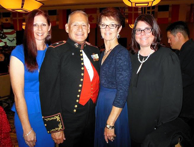 Brig. General Frederick Lopez with daughters Jennifer Marsh, left, and Jamie Lopez and wife Anne.