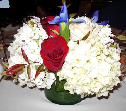 Red, white and blue centerpiece.