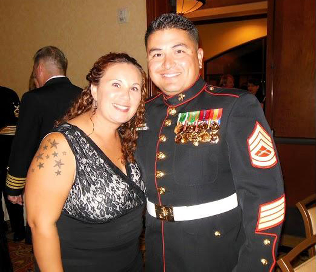 Gunnery Sgt. Mike Gonzales with his wife, Hope, who are stationed at Port Hueneme.