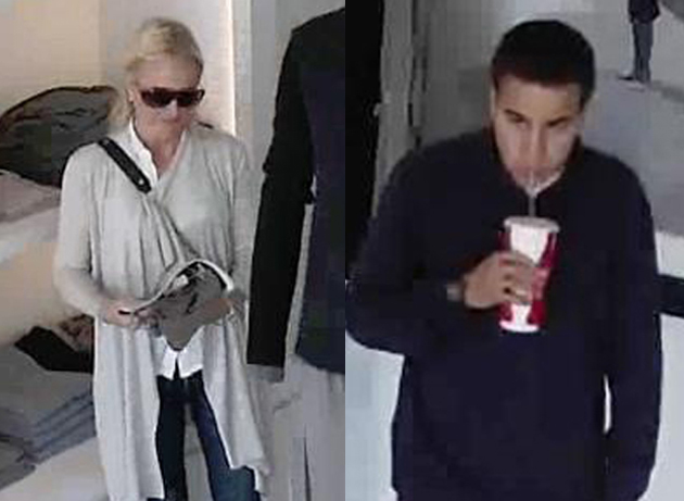 <p>Surveillance photos show the woman and man wanted in connection with a Nov. 4 theft from a clothing store on Coast Village Road.</p>