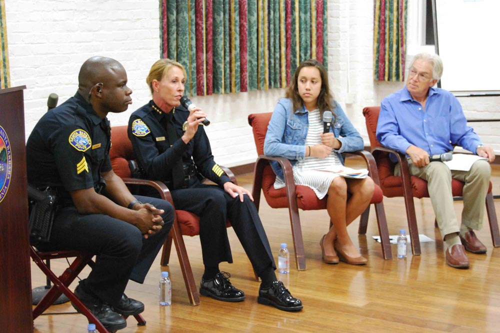 Santa Barbara Police Chief Lori Luhnow — flanked by Sgt. Rashun Drayton, Santa Barbara Youth council member Cindy Diaz and Westside Community Group member Donn Longstreet — on Tuesday reaffirmed remarks she made at a community forum about her department's policies toward immigration status.