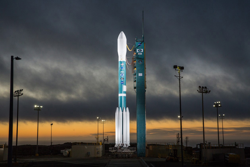 The Mobile Service Tower is rolled back in preparation for launch of a Delta II rocket carrying JPSS-1 for NASA and NOAA at Vandenberg Air Force Base. Tuesday's liftoff attempt was scrubbed.