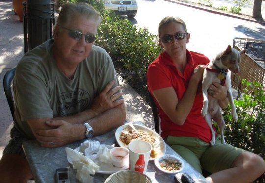 Kami and Don Fritzen, who stopped for lunch at a restaurant in the Vons Shopping Center in Montecito, lost their Conejo Road home to the Tea Fire.
