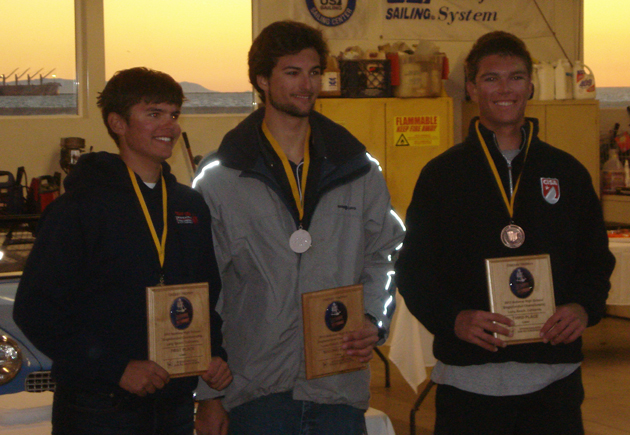 <p>Dos Pueblos High School senior Stephen Long, right, joins Mitchell Kiss, left, of Holland, Mich., and Daniel DelBello of Bedford, N.Y., on the podium at the ISSA Singlehanded National Championship held over Veterans Day weekend in Long Beach.</p>