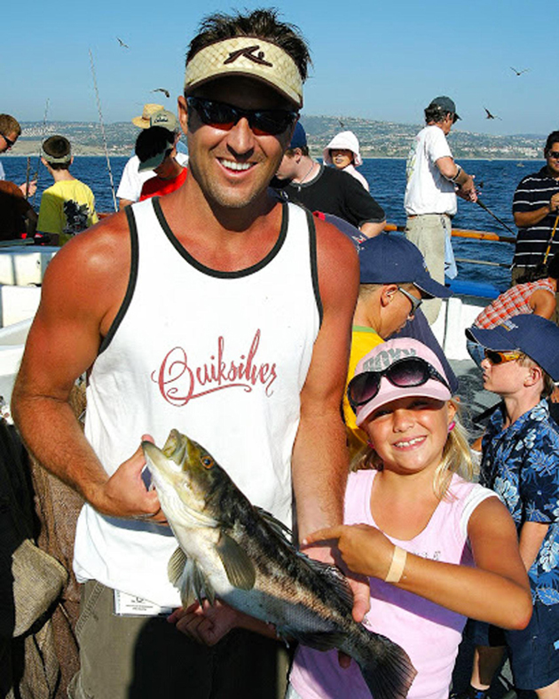 <p>A father and daughter enjoy a day of fishing on a California Fishing Passport family fishing trip aboard the F/V Dana Pride.</p>