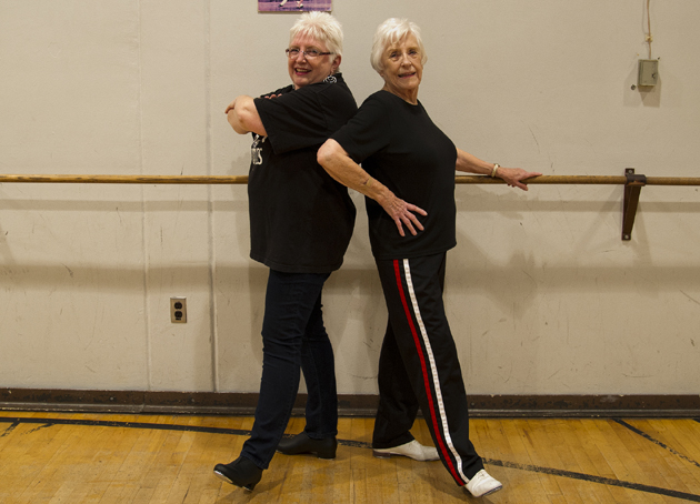 <p>Donna Bishop, left, is a counselor at Allan Hancock College and a student, along with her mom, 87-year-old Wanda Schroder, in the dance program's beginning tap class.</p>