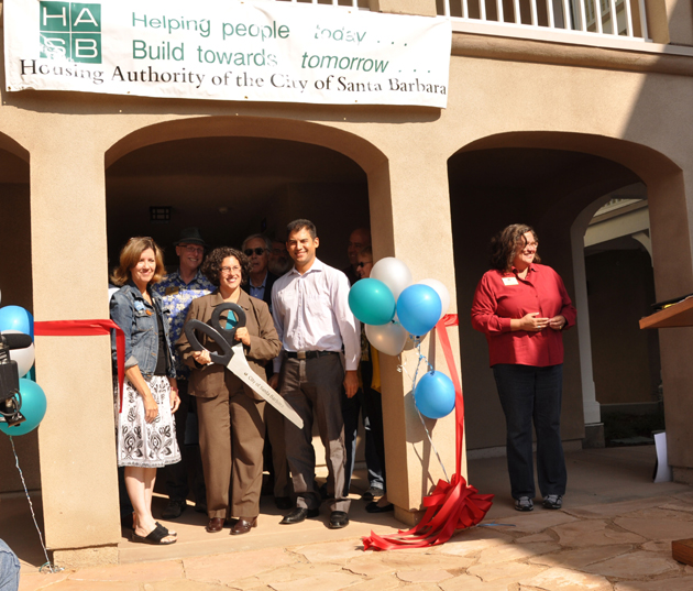 <p>Mary Johnston, from left, Board of Commissioners chair for the Housing Authority of the City of Santa Barbara, Mayor Helene Schneider; Assemblyman Das Williams; City Councilwoman Cathy Murillo; and members of the HACSB Board of Commissioners celebrate the grand opening of the Bradley Studios on Bath Street.</p>