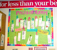 A special philanthropy display in the classroom keeps the focus on Learning to Give