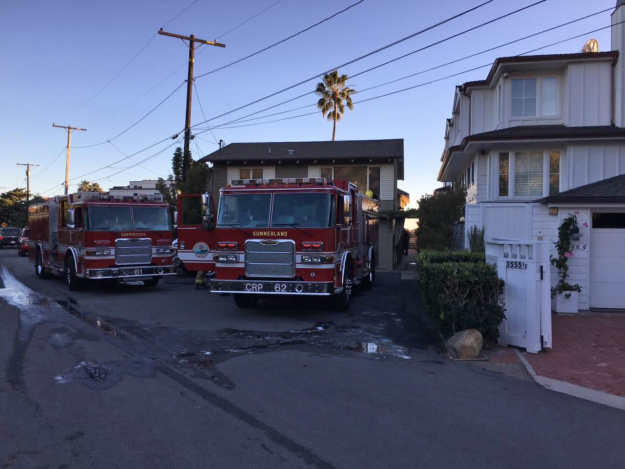 Firefighters responded to a structure fire at a Padaro Lane home in Carpitneria and found a fire in a closet.
