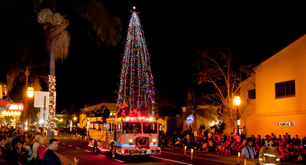 The Santa Barbara Downtown Organization and Southern California Edison are working to ensure the community holiday tree is in its place in front of the Arlington Theatre in time for the annual Downtown Holiday Parade. (Fritz Olenberger / Noozhawk photo)