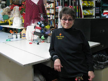 Barbara Tellefson, the Unity Shoppe's director of operations, at the Senior Center in the basement of the nonprofit's old building. (Giana Magnoli / Noozhawk photo)
