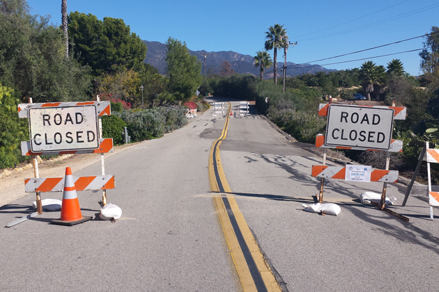 A portion of Ortega Ridge Road was closed to through traffic Thursday until the county public works department can make repairs to the cracks and settlement of the street.