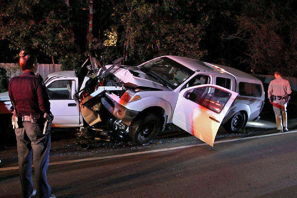 Alan Michael Fleckenstein, 31, of Solvang was arrested on DUI charges late Monday night after the pickup he was driving slammed into several parked vehicles on Foothill Road near Santa Barbara.
