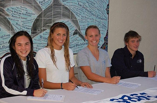 Four Santa Barbara Swim Club seniors signed scholarship letters of intent this week. From left are Rayanne Nguyen of Dos Pueblos High, who signed with Fresno State; Lolo Blair and Lindsey Parrish of Santa Barbara High, who have signed with USC; and Drew Casier of Dos Pueblos, who signed with UC Irvine.