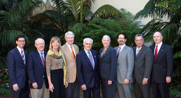 <p>Montecito Bank &amp; Trust board members, left to right, Craig Zimmerman, Thomas Fly, Cathy Carter Duncan, Jerry Parent, Michael Towbes, Janet Garufis, Rob Skinner, Ken Verkler and Peter Jordano gather for a group shot at Monday&#8217;s ninth annual Community Dividends awards luncheon.</p>