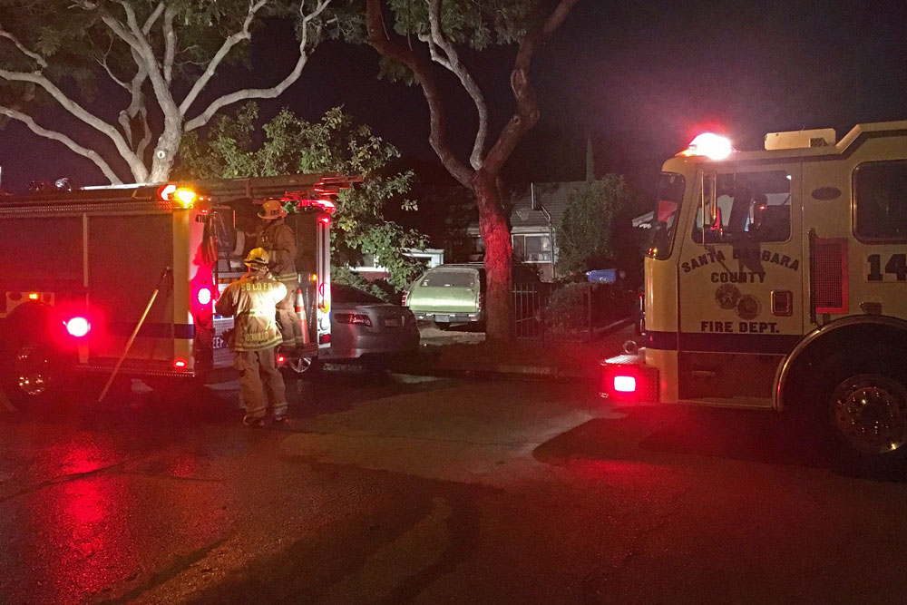 Firefighters responded Tuesday afternoon to a fire behind a home near Goleta that was sparked by a resident using gasoline to start a barbecue.