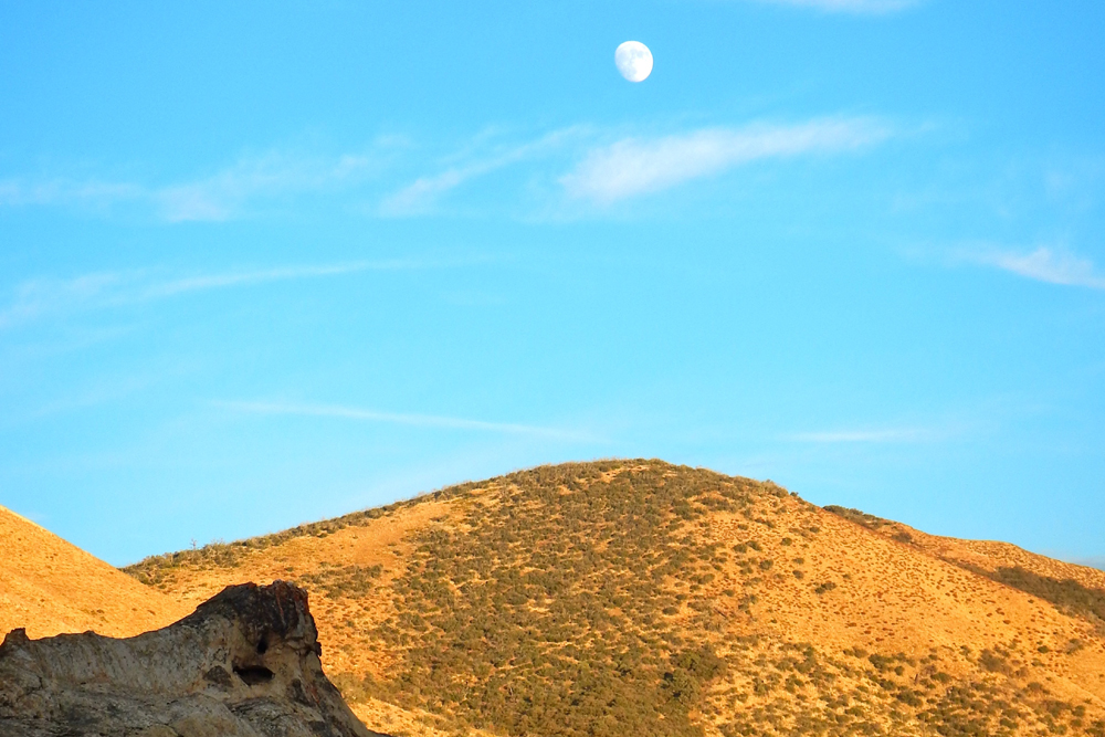 The moon rises over Pine Corral Potrero near Painted Rock Camp.