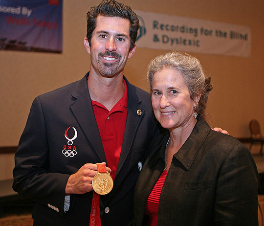 Olympic gold medalist Todd Rogers with his mom, Heidi, who struggled with school because of dyslexia. Rogers was one of several
