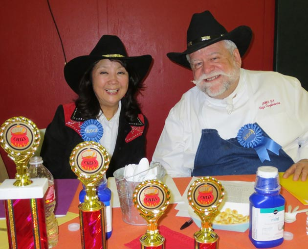 Judges Roxanne Nomura and James Sly of Sly's Restaurant.