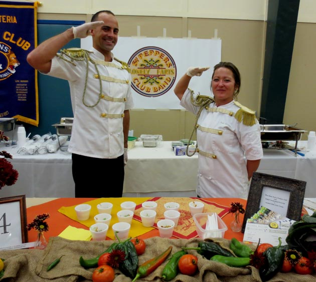 Chili Challenge contestant Sgt. Pepper's Lonely Farts Club Band with chef Nirasha Holcomb and Jason Rodriguez.