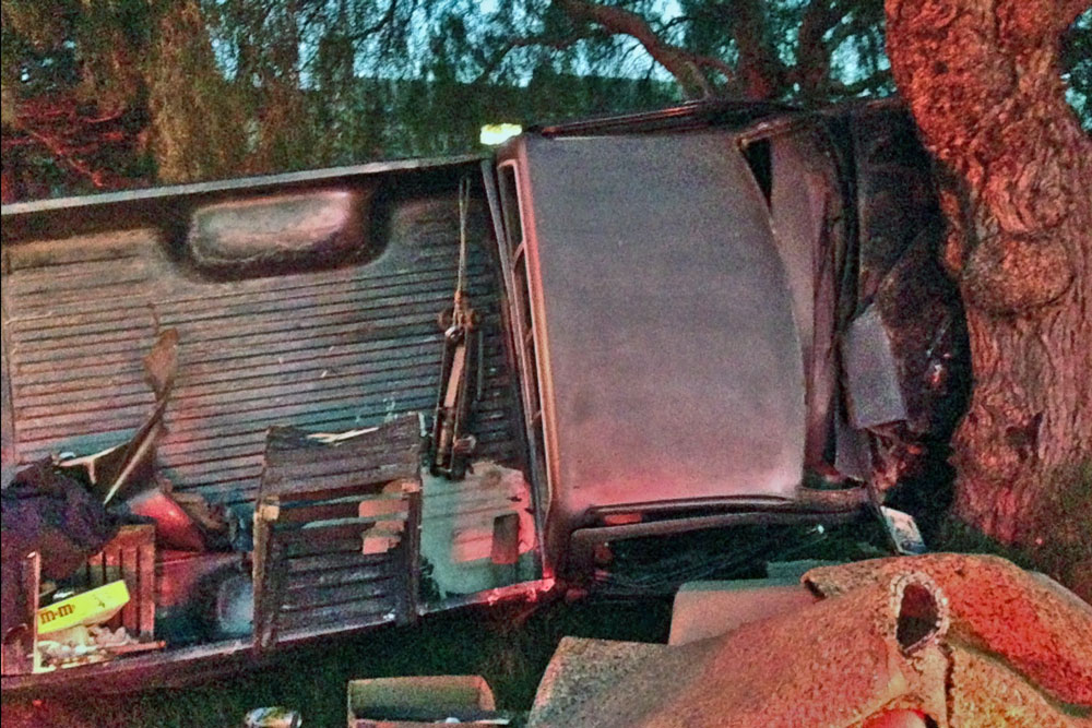 The driver of this pickup truck suffered minor injuries Wednesday afternoon in a rollover crash on Clark Avenue in Orcutt.
