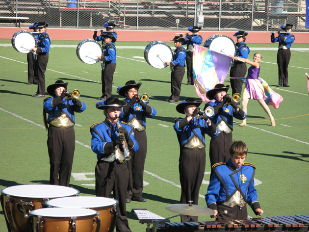 More than 150 students participate in Dos Pueblos High School instrumental music programs, including the DP Marching Chargers, Color Guard, Drumline, Jazz Bands and Orchestra. (DP Band Boosters photo)