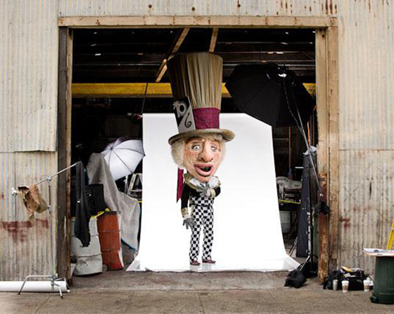Photographer Kevin Steele says the Mad Hatter, aka Robby Robbins, barely fit into the studio, in this 2010 photo shoot. When he stood up, his giant hat was one inch from the tallest beam.