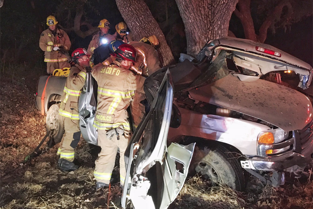 A driver was critically injured early Monday when his pickup ran off Highway 154 in Los Olivos and slammed into a large oak tree.