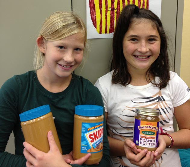 Crane Country Day School fifth-graders are collecting peanut butter and other products for the Foodbank of Santa Barbara County, with a goal of 1,500 pounds. (Crane Country Day School photo)