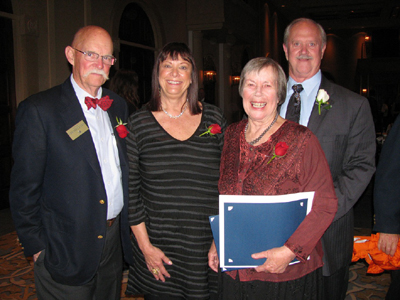 Goleta Mayor Ed Easton, from left, Councilwomen Paula Perotte and Margaret Connell and Councilman Michael Bennett celebrate awards honoring Connell as Woman of the Year and marking the city's 10th anniversary. (Giana Magnoli / Noozhawk photo)
