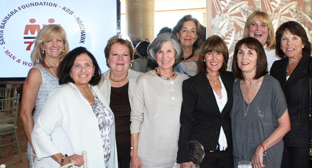 Meredith Scott was among the many Women's Fund of Santa Barbara members who gathered at the recent Man & Woman of the Year Luncheon to celebrate 2013 Woman of the Year Anne Towbes. From left, Melissa Gough, Carla Whitacre, Tish Gainey, Carol Palladini, Sallie Coughlin, Towbes, Scott, Sarah de Tagyos and Stina Hans. (Randy Weiss photo)