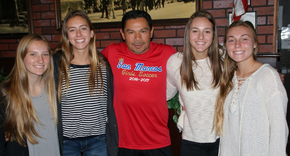San Marcos girls soccer coach Edwin Portillo has four college-bound seniors on his squad. They are, from left, Raynee Odell, Natalie Widmer, Danielle Anderson and Chloe Hamer.