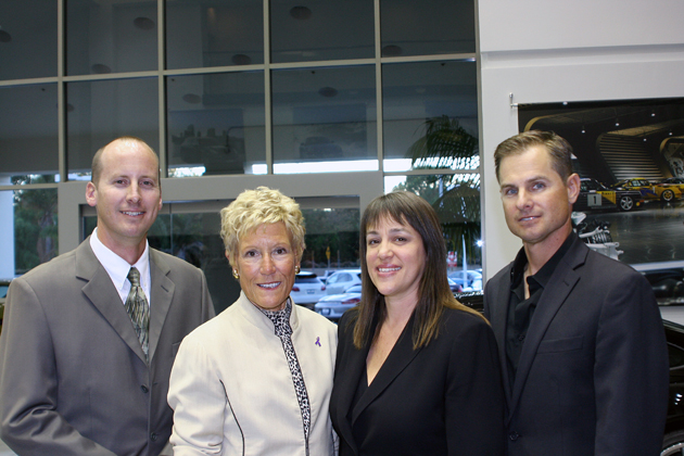 <p>Guest speaker and Santa Barbara police Detective Chad Hunt, left, Domestic Violence Solutions Interim Executive Director Loretta Reed, DVS shelter coordinator Tracy O&#8217;Mally, and guest speaker and District Attorney Benjamin Ladinig at the fourth annual Men&#8217;s Cocktail Party.</p>