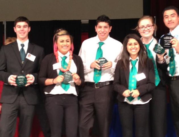 <p>The young entrepreneurs of Santa Barbara High School&#8217;s Dons Net Cafe hold with pride their fourth-place trophies earned in the State Business Plan Competition.</p>