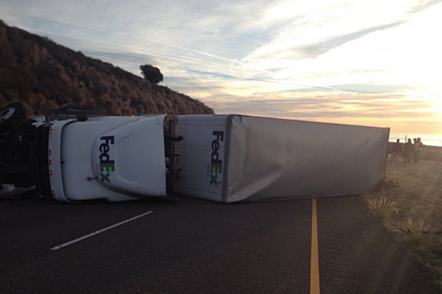 A double-trailer semi truck overturned Thursday morning and blocked all northbound Highway 101 lanes near Mariposa Reina on the Gaviota Coast.