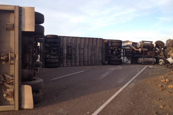 Traffic was diverted to Highway 154 after a semi truck overturned on Highway 101 Thursday morning.