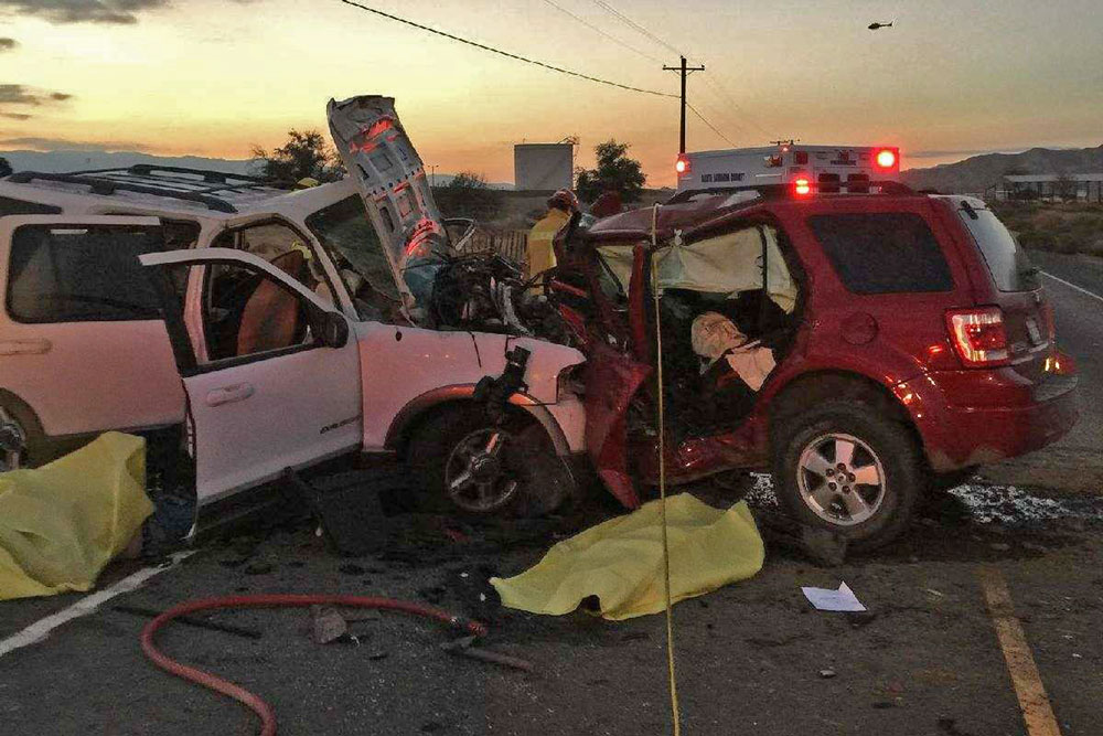 Three people were killed Sunday afternoon in a head-on collision involving two SUVs on Highway 166 near New Cuyama.