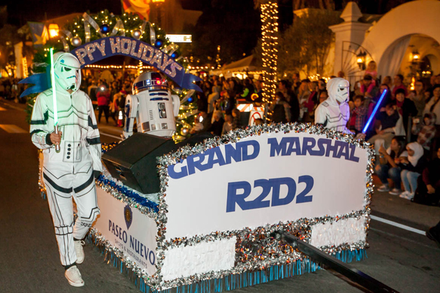 Santa Barbara's annual holiday parade in 2015 featured Star Wars' R2-D2 as the Grand Marshal leading dozens of marching bands, floats and community groups down State Street. This year's parade is scheduled to start at 6:30 p.m. on State Street at Sola Street.